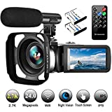 Video Camera Camcorder with Microphone Vlogging Camera YouTube Camera Recorder 2.7K Ultra HD 30FPS 24.0MP Wifi IR Night Vision 3.0