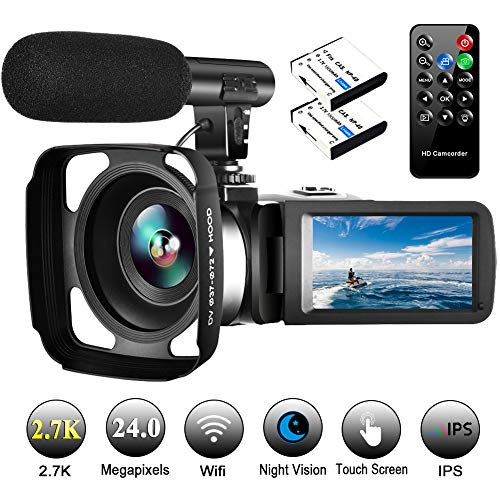 "Video Camera Camcorder with Microphone Vlogging Camera YouTube Camera Recorder 2.7K Ultra HD 30FPS 24.0MP Wifi IR Night Vision 3.0"" LCD Touch Screen"