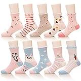 Eocom Children's Winter Warm Cartoon Pattern Cotton Socks For Kids Boys Girls 10 Pack (Girl set, 3-5 Years)