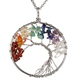 Gemstone Necklace Pendant Tree of Life , BRCbeads Silver Plated Crystal Healing Point Reki Chakra Unisex Stainless Steel Chain 20''