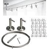 Curtain Wire Rod Set Stainless Steel, Multi-purpose, 16.5' Wire, 2 Mounting Pieces, 24 Clipss by Fasthomegoods