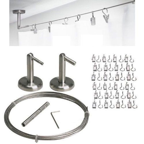 Curtain Wire Rod Set Stainless Steel, Multi-purpose, 16.5' Wire, 2 Mounting Pieces, 24 Clips 16.5' Wire QQ-OUTLET