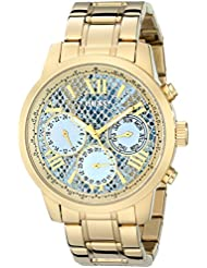 GUESS Womens U0330L13  Stainless Steel Gold-Tone Multi-Function Watch with Ice Blue Python-Print, Day, Date &...