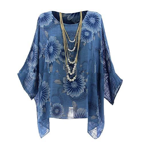 T-Shirt con Stampa Floreale Irregolare, Maniche a Pipistrello, Maniche a Pipistrello, Top a Tunica Blue