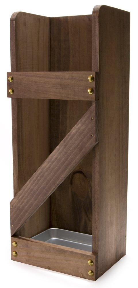 【dandelion】 国内産 木製 傘たて アルミ受皿付き (ブラウン) B01MT2S2A7  ブラウン