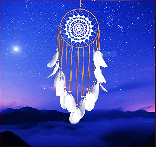 NOOS Indian Circle Dream Catcher Wind Chimes Colorful Dream Catchers Feather Traditional Style Pendant Wall Hanging Home Decoration Gift by NOOS (Image #2)