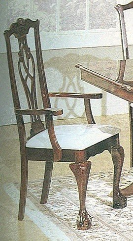 Chippendale Arm Chair Finish - Set of 2 Chippendale Cherry Finish Wood Dining Arm Chairs