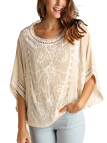 Cream Blouse Top (Umgee Floral Embroidered Sheer Top Blouse Fall Winter 2017 (Medium, Cream))