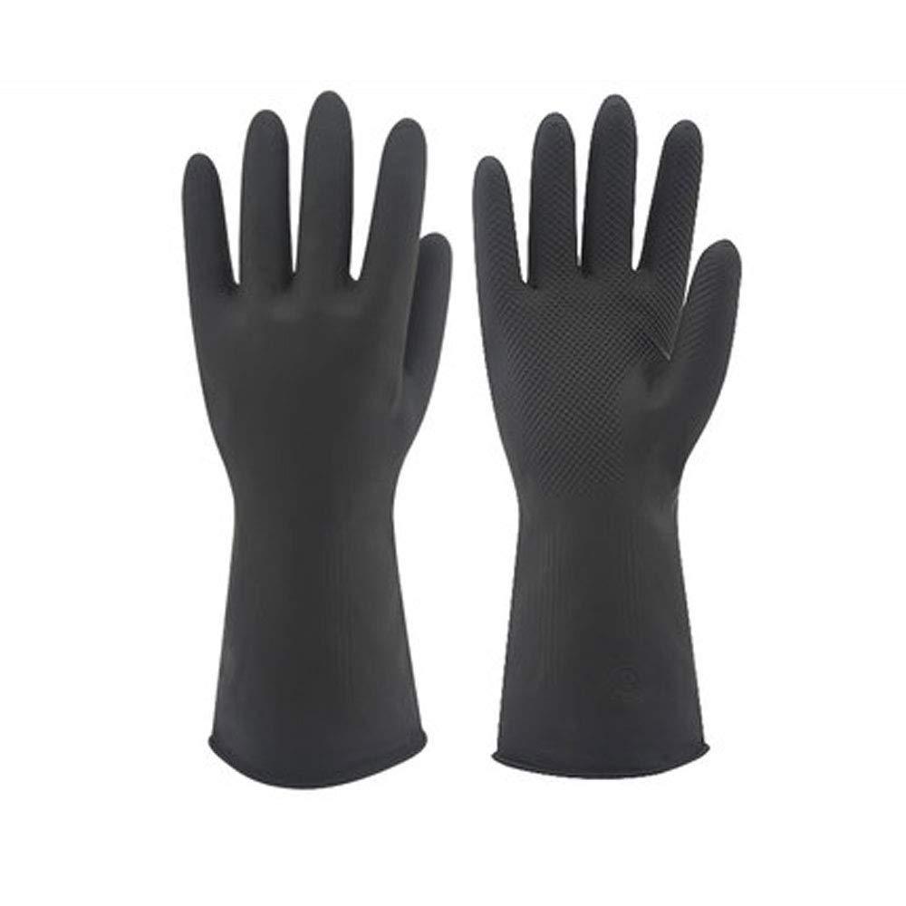 FH ブラック工業用ラテックス手袋 防水 耐油 二層ラテックス 保護 保険製品 M 20181106 B07K7K1HZC  Medium