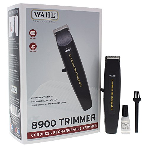 "Wahl Professional #8900 Cordless Rechargeable Trimmer, Black – Lightweight 6"" Trimmer – Includes Automatic Recharge Stand and Battery by Wahl Professional"