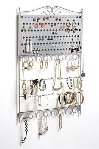 Mango Steam Wall-Mounted Jewelry & Earring Organizer (Mountings Silver Earrings)