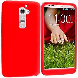 Accessory Planet(TM) Red Silicone Soft Gel Rubber Skin Case Cover Accessory for LG G2 (Sprint, T-Mobile, At&t)