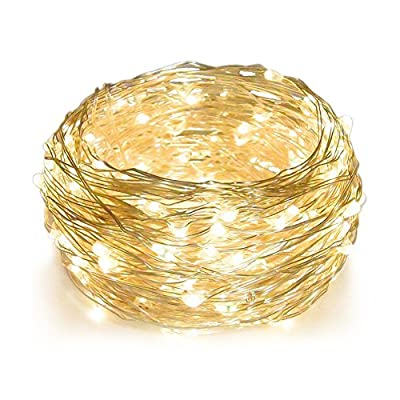 Hellum Copper Wire String Lights LED Starry String Lights 100 LED 33 ft Starry Fairy Lights Decorative Lights with Timer for Wedding,Patio,Gate,Party Indoor Outdoor Decoration (Warm White) - UL CERTIFIED & Safe to touch. Safety power adapter to proctect the you and the ligh. LED String Light won't overheat after over 18 hours use. After hours of use, lights remain cool and completely safe to touch. It is splash-proof(IP44), so it can be used for outdoor and indoor. Timer Mode: With the timer mode you will never forget to turn off / on the lights. This function help you control light up / turn off in time. 33 FT LONG: 33 Feet / 10 m on 100 leds copper wire. The copper wire strings is long enough to decorate your room and house. Use the Starry Fairy Lights to creating a romantic, festive and warm atmosphere. - patio, outdoor-lights, outdoor-decor - 51X8zX1RcSL. SS400  -