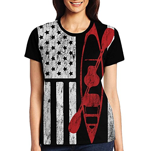 n Flag Women's Short Sleeve Tops Tee Crew Neck T-Shirt L ()