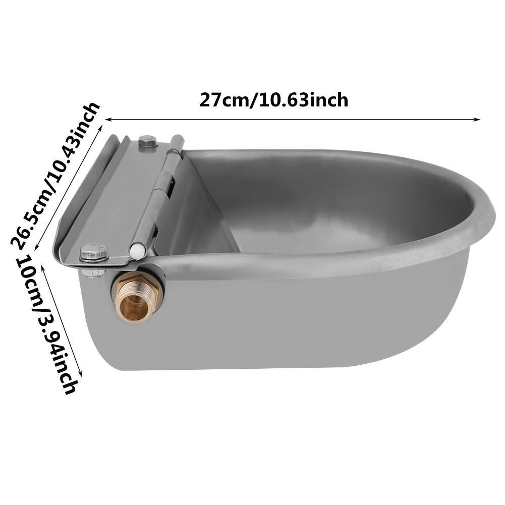 Pssopp Horse Cattle Drinker Stainless Steel Water Bowl Water Trough Bowl Automatic Drinking for Horses Goats Sheep Cattle