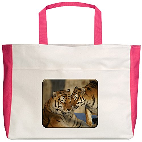 truly-teague-beach-tote-2-sided-nuzzling-tiger-love-fuchsia