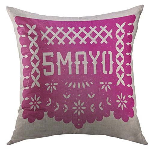 Square Flag Battle (Mugod Pillow Cover Retro Mexico 5 Mayo Party Cut Mexican Celebration Puebla Battle Magenta Grunge Colorful Flag Home Decorative Square Throw Pillow Cushion Cover 16x16 Inch Pillowcase)