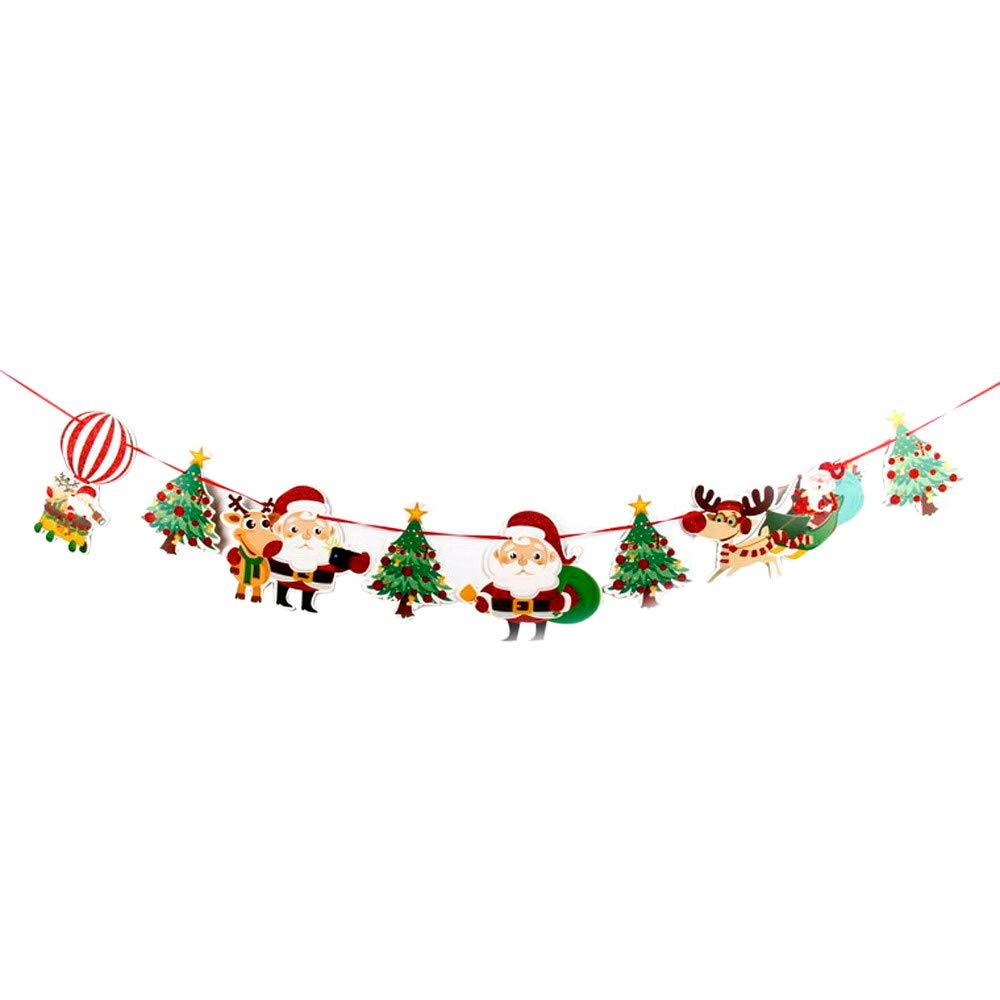 Pull The Flag,FTXJ 3M Christmas Window Hotel Party Home Hanging DIY Decor Banner Colorful (C, 3 meters)