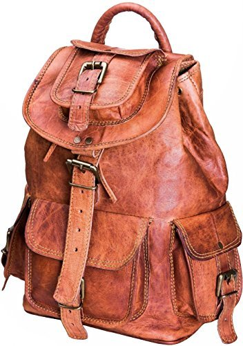 Premium Leather Backpack (Urban Leather Backpack for Men | Leather Backpack for Women | Handmade Drawstring Bag for Boys & Girls Medium Size 14 inches)