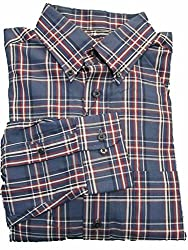 Roundtree & Yorke Navy Blue Red Plaid Cotton Twill L/S Button-down Collar Shirt M