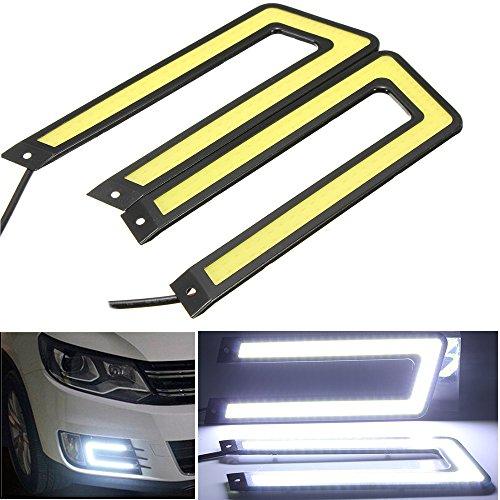 6000K COB Led Daytime Running Light DRL Headlight Fog Lamp U Shape C Self-adhesive For FORD CHRYSLER CHEVY CHEVROLET DODGE CADILLAC JEEP GMC PONTIAC HUMMER LINCOLN BUICK (Chevy S10 Pickup Headlights)