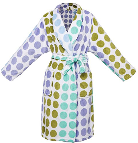 - AbbyLexi Boy's Plush Bathrobe Robe with Long Sleeve, Pockets, Blue Round, XL