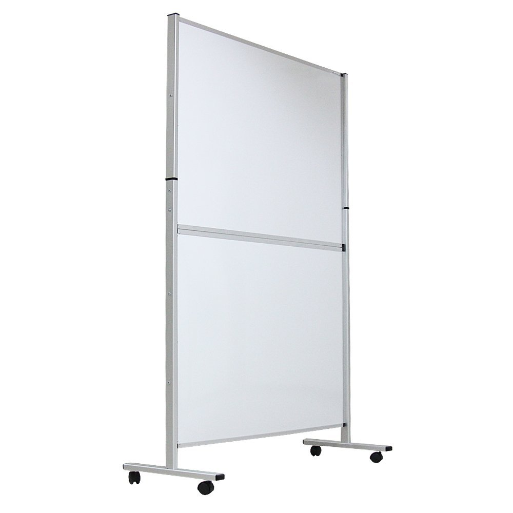 VIZ-PRO Mobile Room Divider/Office Partition, Double-Sided, Whiteboard & Corkboard, 48''Wx72''H