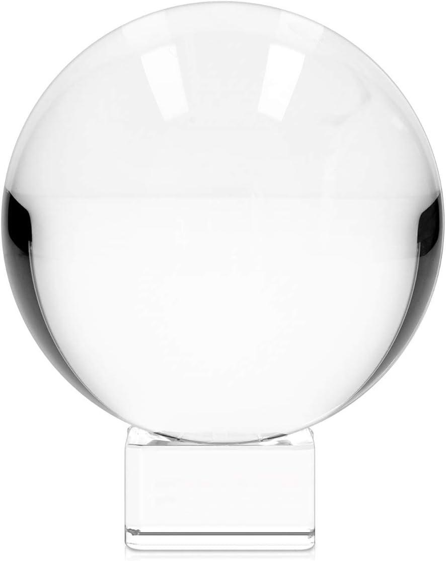 Navaris Bola de Cristal para fotografía - Esfera con Soporte - Bola de Vidrio K9 Transparente para decoración - Ø 100MM