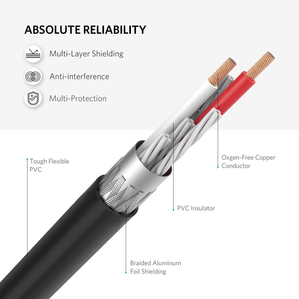 Ugreen 10588, Cable audio jack 3,5mm Hembra a 2RCA Macho, Cable Adaptador RCA en Y para Smart TV, Reproductor MP3, Tablet, PC al Amplificador, Sistema ...