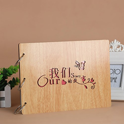 DIY Scrapbook, 10 Inch Wooden Cover Photo Album, Anniversary Memory Book, Maple Color Wedding Guest Book, Gift (Our Story)