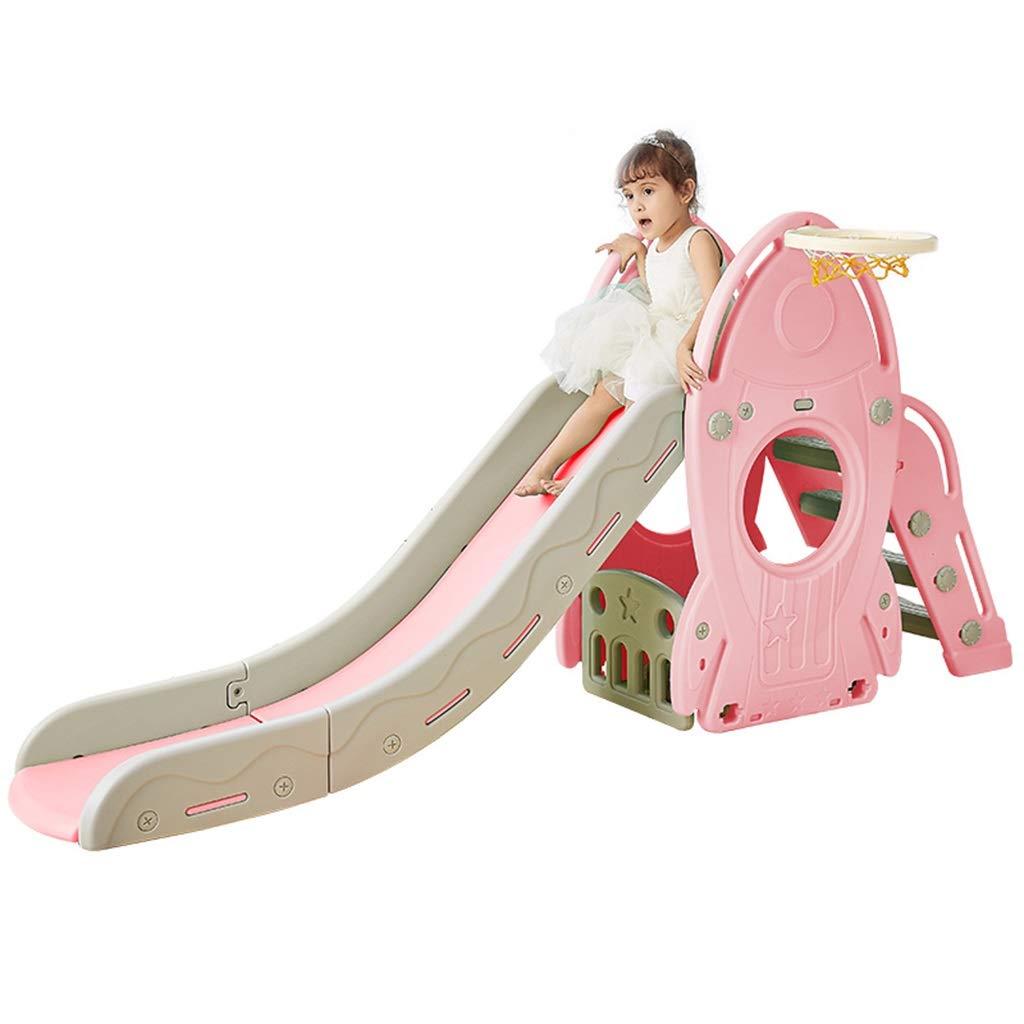 Freestanding Slides Children's slide indoor home multi-function combination slide plastic toy very healthy and safe (Color : Pink, Size : 220 * 50 * 106cm)