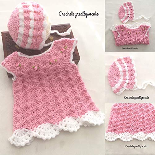 Easter baby dress,spring baby dress, Baby pink, 0-3 Month baby outfit,Newborn baby dress,home coming baby outfit,Baby bonnet, baby sweater dress, winter baby dress, handmade baby dress -
