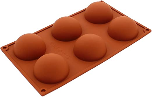 Pure Vie Molde de Silicona Cubeta Molde En Silicona Cubos de Hielo para Hielo, Tartas, Chocolate, Latas, Hornear, Galletas - 6 Grandes Medias esferas - 100% alimentarias y sin bpa: Amazon.es: Hogar