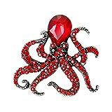 Finance Plan Women's Cute Octopus Brooch Pin Shiny Rhinestone Party Jewelry Scarf Gift