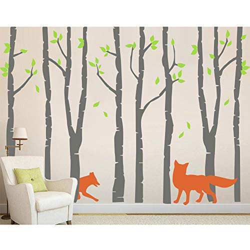 AMAZING WALL DIY Gray Tree and Fox Wall Stickers Baby Nursery,74.8x105.1inch (Girl Fox Window Decals)