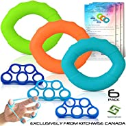 Hand Strengthener Grip Rings 3 Pack with 3 Pack Finger Strengtheners