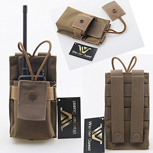 Warrior Quest Adjustable 1000D Nylon Short Radio Pouch – Molle Radio Pouch Tactical Radio Holster (Tan) …