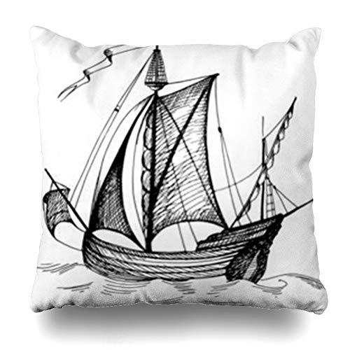 (YeaSHARK Throw Pillow Covers Sailing Ancient Old Caravel Vintage Sailboat Sketch Detail Geographical Antique Maps Sea Ship Boat Zippered Design Square 20