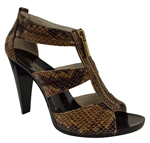 Michael Kors Berkley T-Strap Embossed Leather Sand Sandals (9)