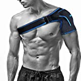 Shoulder Stability Brace with Pressure Pad by Babo Care - Breathable Neoprene Shoulder Support for Rotator Cuff, Dislocated AC Joint, Compression Sleeve with Adjustable Wrap Strap (Blue)