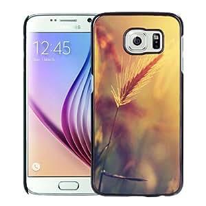 Beautiful Unique Designed Samsung Galaxy S6 Phone Case With Wheat Plant Closeup Warm Colors_Black Phone Case