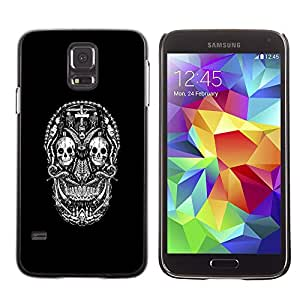 LECELL--Funda protectora / Cubierta / Piel For Samsung Galaxy S5 -- Goth oscuro CRÁNEO DEL AZÚCAR --