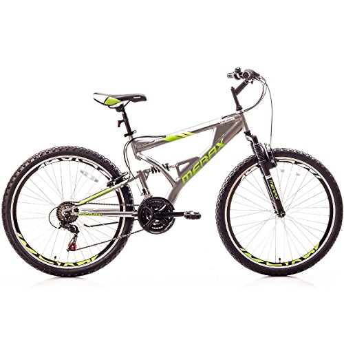 Merax Falcon Full Suspension Mountain Bike Aluminum Frame 21-Speed 26-inch Bicycle (Gray & Green) (All Aluminum Bicycle Terrain)