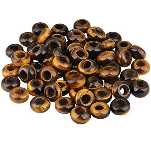 European Tiger (SUNYIK Tiger's Eye Stone Large Hole (6mm) Rondelle Loose Charms European Bead fits Bracelet,Jewelry Makings Pack of 20)