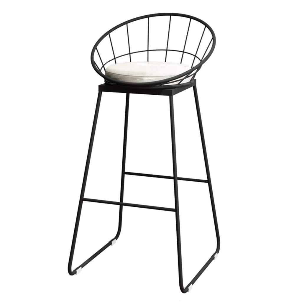 42x44x75cm Fashion High Chair Bar Stool Breakfast Chair and Cushion Seat Back Comfort Kitchen Breakfast Counter Greenhouse Bearing 150 Kg Black (Size   42x44x75cm)