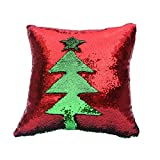 Color Changing Bathroom Mat Fengheshun Reversible Sequins Mermaid Pillow Covers 4040 cm Magical Color Changing Pillowcase Christmas Decoration (Red+Green)