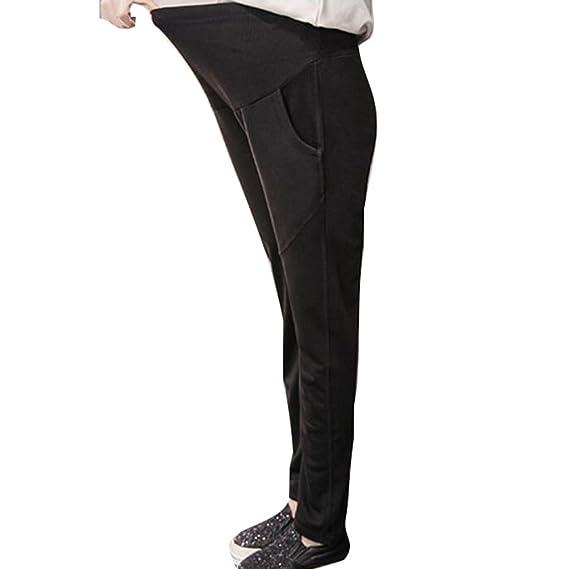Highdas Embarazada Verano Pantalones Stretch Leggings Maternidad Siete Pantalones De Soft Modal Algodón Negro / L