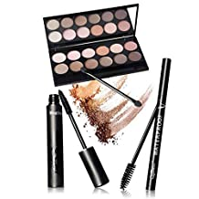 Xuanhemen Eye Makeup Set Eyeshadow Palette Mascara Eyeliner Plus 12pcs Eyelash Brushes