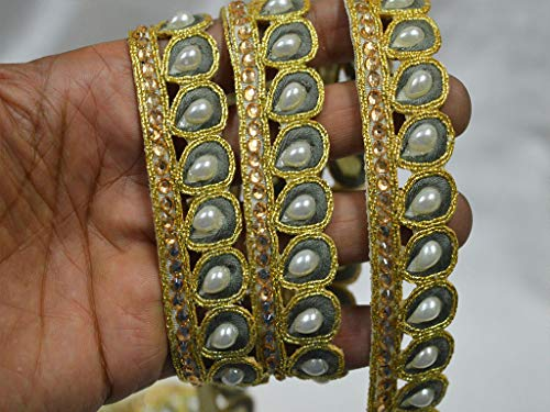 Dazzling Saree - Wholesale Wedding wear Trimmings Grey Saree Border Indian Trims by 9 Yard Sari Laces Gold kundan Glass Bead Embellishment Clothing Ribbon