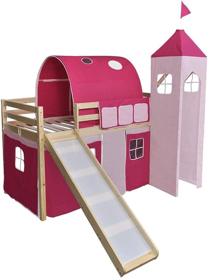 vidaXL Cama Alta Castillo para Niños con Tobogán y Escalera de Madera Color Rosa: Amazon.es: Hogar